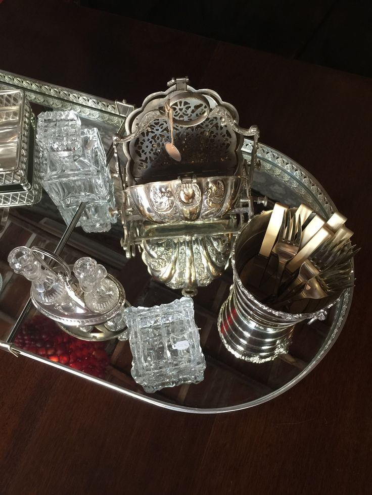 Hand Cut Lead Crystal Perfume Bottle, Pair of Brilliant Hand Cut Lead Crystal Glass Cruets (Oil & Vinegar), Antique Victorian Silver Plated Folding Biscuit Box, 19th Century French Silver Plate Mirror Plateau Centerpiece