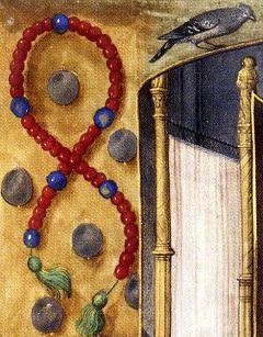 """Effet illusionniste avec l'ombre du chapelet et la 'bordure-fenêtre' de la page enluminée Légende de st Adrien (1477-83) Charlotte de Savoie et Louis XI.- La pieuse et modeste Charlotte de Savoie, est qualifiée par ses contemporains de """"pauvre reine sans éclat"""". Depuis l'avênement de Louis XI en 1461, près de 10 ans depuis leur mariage, Charlotte de Savoie ne partage guère la vie de son époux, et le plus souvent le couple ne fait pas résidence commune."""