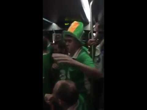 Irish Fans 'sing lullabies' to baby on a train in Bordeaux, France