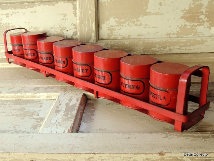 Tin Spice Rack Set Red U0026 Black Mid Century Retro Hanging Kitchen Canisters  Metal.