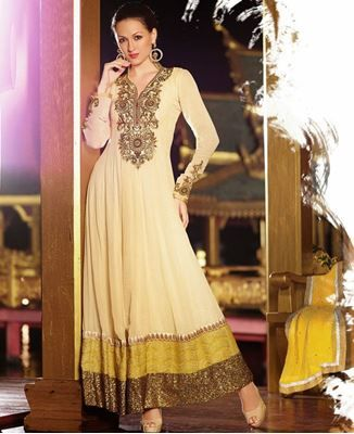 Picture of Peach And Yellow Anarkali Salwar Kameez