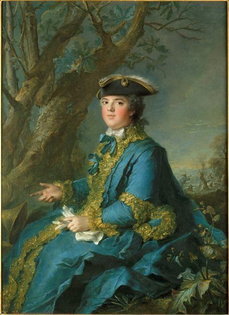 Louise Elisabeth de France en habit de chasse, 1ère fille de Louis XV. 1727-1759 - Duchesse de parme suite à son mariage avec Philippe d'Espagne - Appelée Madame puis Madame Infante après son mariage. Surnommée Babette par son père.