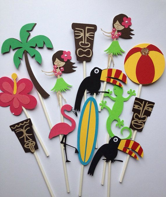 Set Of 12 LUAU ASSORTMENT Cupcake ToppersBeach by MiaSophias, $11.99