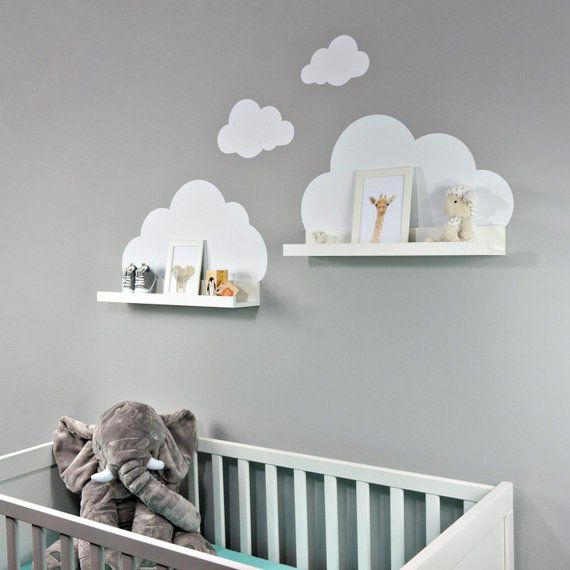 Wall decal clouds in white for Ikea shelf Board Ribba/Mosslanda 55 cm picture Bar for baby room-sticker for wall and wallpaper