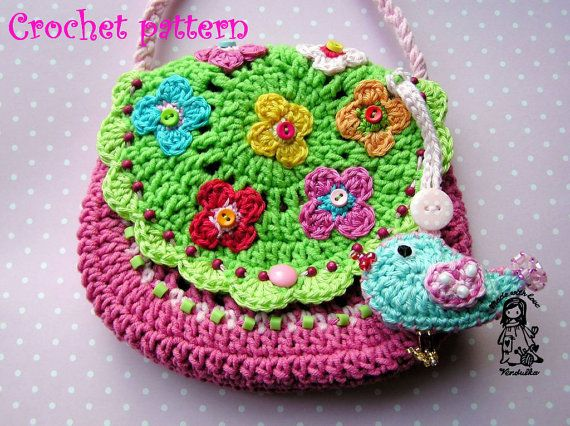 Crochet bag / purse Garden scene collection by VendulkaM on Etsy, $4.80