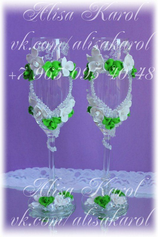 Wedding glasses hand made with white  and green roses with hearts (ANY COLOR)
