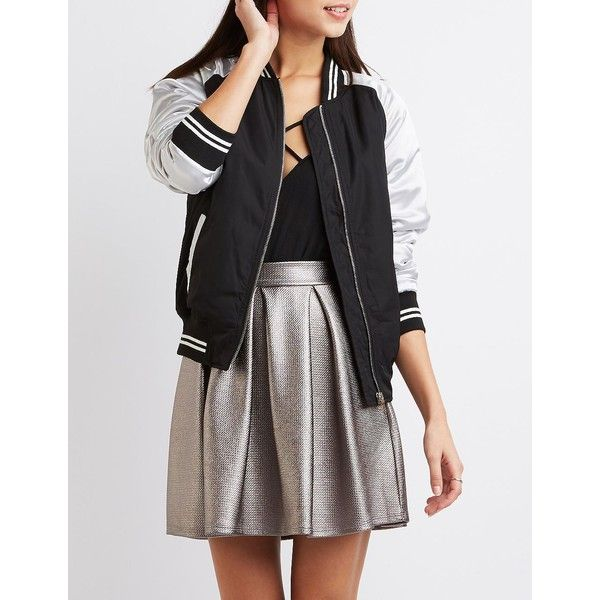 Charlotte Russe Varsity Stripe Colorblock Bomber Jacket featuring polyvore women's fashion clothing outerwear jackets black charlotte russe jackets fleece-lined jackets flight bomber jacket padded bomber jacket utility jacket