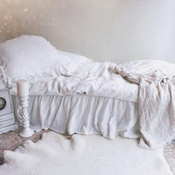 Linge lit jupe juponnage juponnage linge blanc par Linenbeeshop