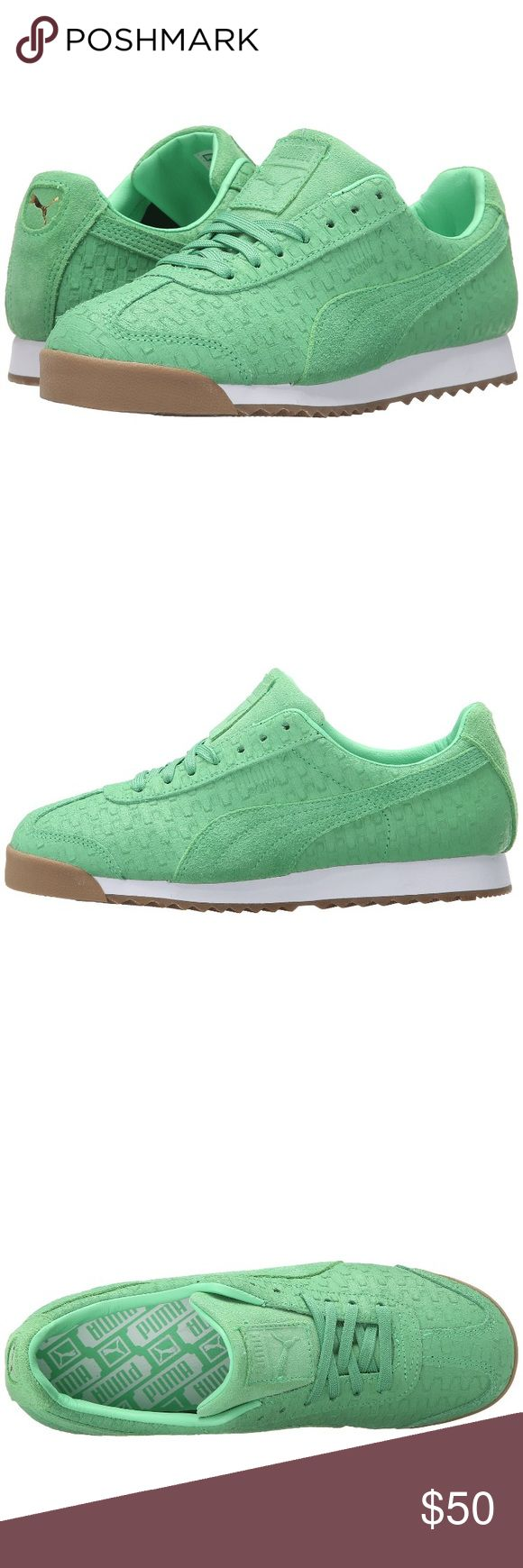 Green Puma Roma Emboss Brick Sneakers Brand new in box, never worn Such a pretty green color  Embossed leather upper with brick pattern Lightly padded tongue and collar  Puma label on the tongue  Rubber outsole for traction Very comfortable and fashionable sneaker! Reg price $70! Sold out everywhere FIRM PRICE/NO TRADES❗️ Puma Shoes Sneakers