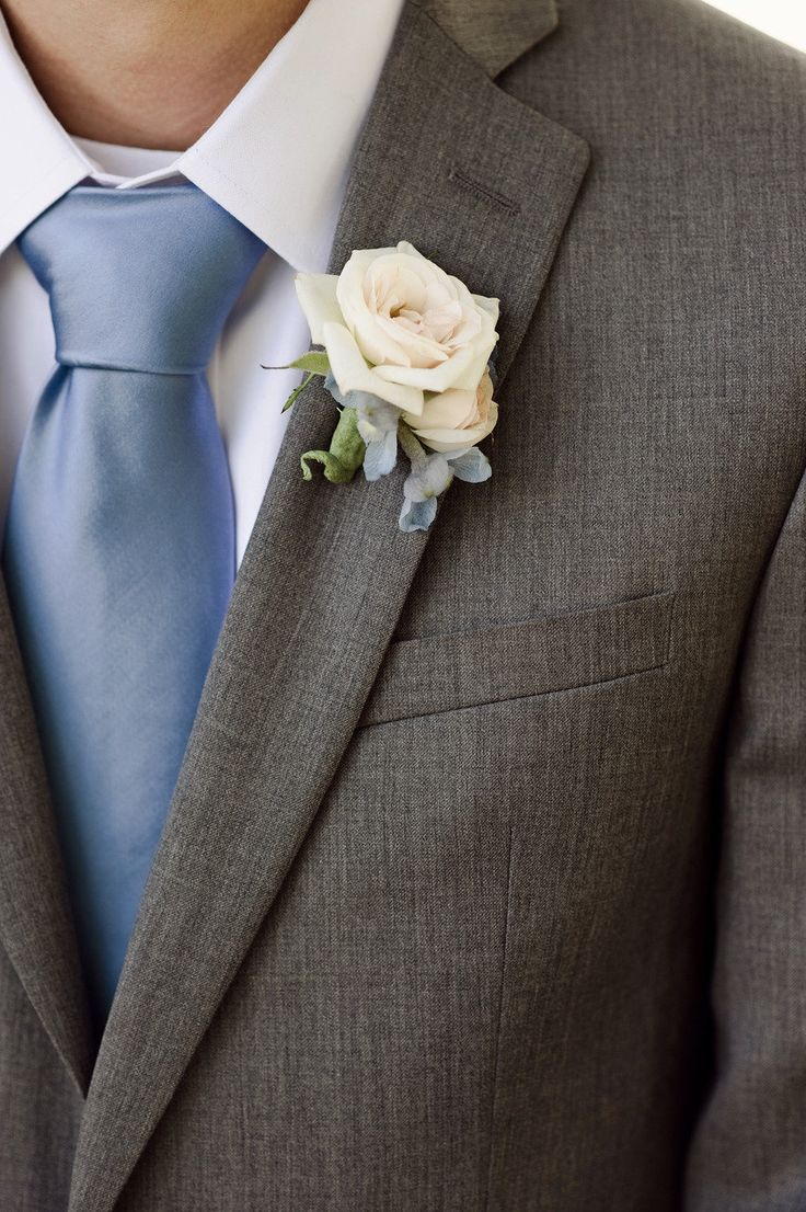 French Country Inspired Farm Wedding from Christopher Helm Photography - Gray suit blue tie