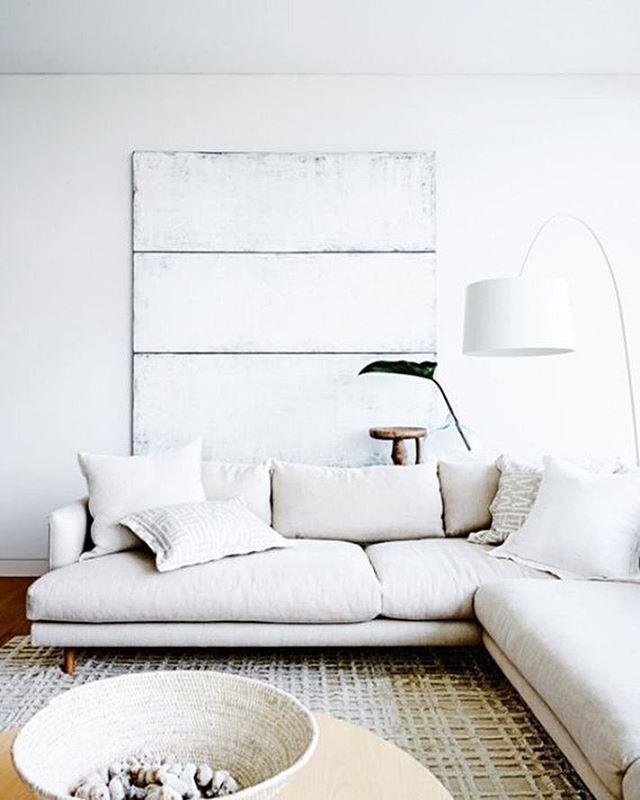 All White Living Room + Neutral Decor + White Sectional ...