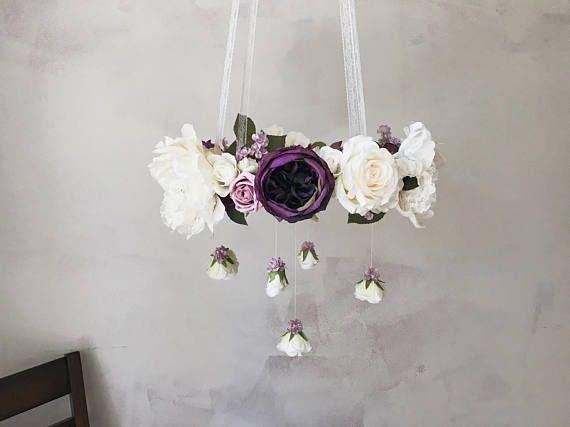 Rustic purple flower mobile, farmhouse nursery, rustic nursery mobile, purple flower mobile, rustic baby mobile, purple floral chandelier