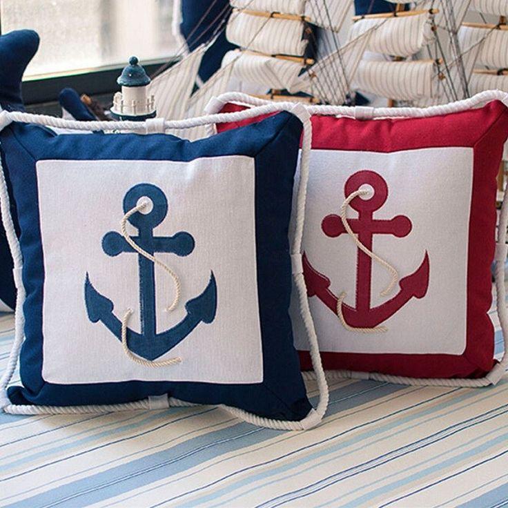 Mediterranean boat pillows Decorative Anchor Cotton Throw Pillow Sailing Boat Chair Seat Cushion Home Decor For sofa #Affiliate