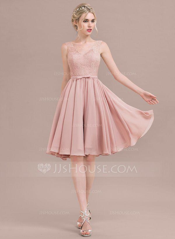 db7c2505c5b A-Line Princess V-neck Knee-Length Chiffon Lace Homecoming Dress With Bow(s)