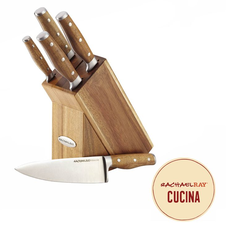 A great cutlery set is a kitchen must-have, and the distinctive, durable knives in the Rachael Ray Cucina Cutlery 6-Piece Japanese Stainless Steel Knife Block Set are just the ticket. Click on the image to learn more.