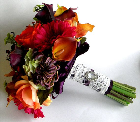 The Rachel Bouquet Real Touch Wedding Flowers in Orange, Sangria, Purple and Green- Fall Wedding on Etsy, $280.42 CAD