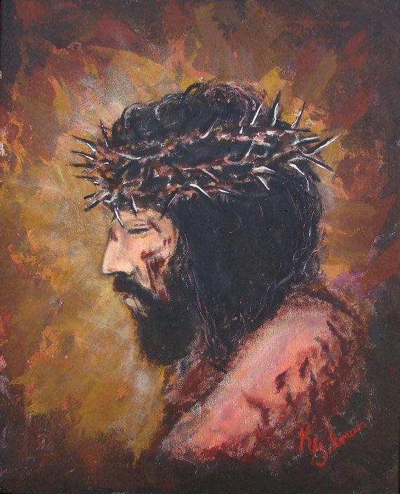 Religious Flat Acrylic: Acrylic Painting Of Jesus Christ