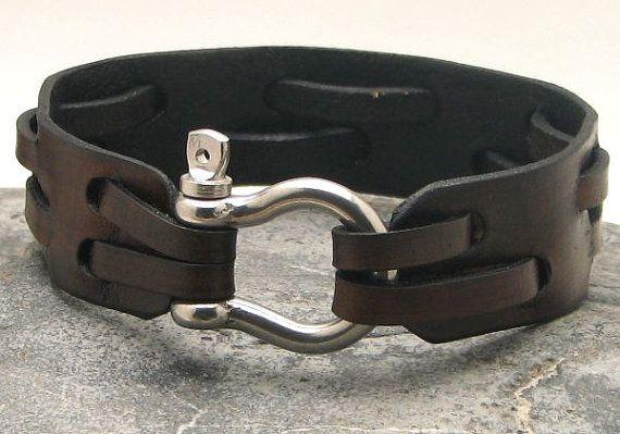 EXPRESS SHIPPING cuero pulsera de cuero marrón brazalete de hombres shoehorse plateado plata clasp bisuterÃa