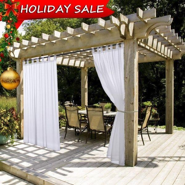 1piece White Sheer Outdoor Curtain Panel Tab Top Waterproof