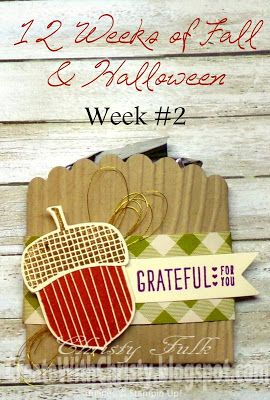 Stampin' Up! Acorny Thank You and Acorn Builder Punch Fall Candy Pouch - Free tutorial on how to make this Mini Fall Scalloped Candy Pouch is included - Create With Christy: 12 Weeks of Fall & Halloween - Week #2 - Christy Fulk, Stampin' Up! Demo