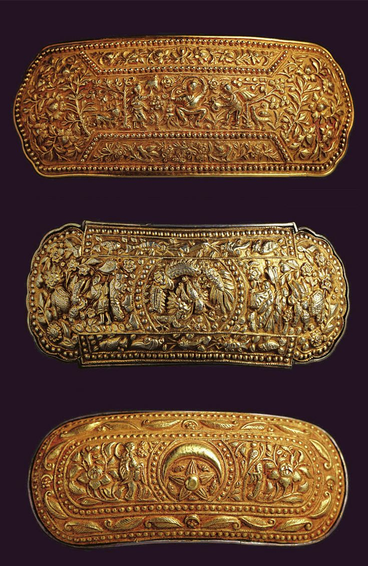 Indonesia ~ Makassar, Sulawesi | Belt buckles; gold plates on silver backing | Peranakan Chinese | 19th century || Source: 'Gold Jewellery of the Indonesian Archipelago'; pg 323