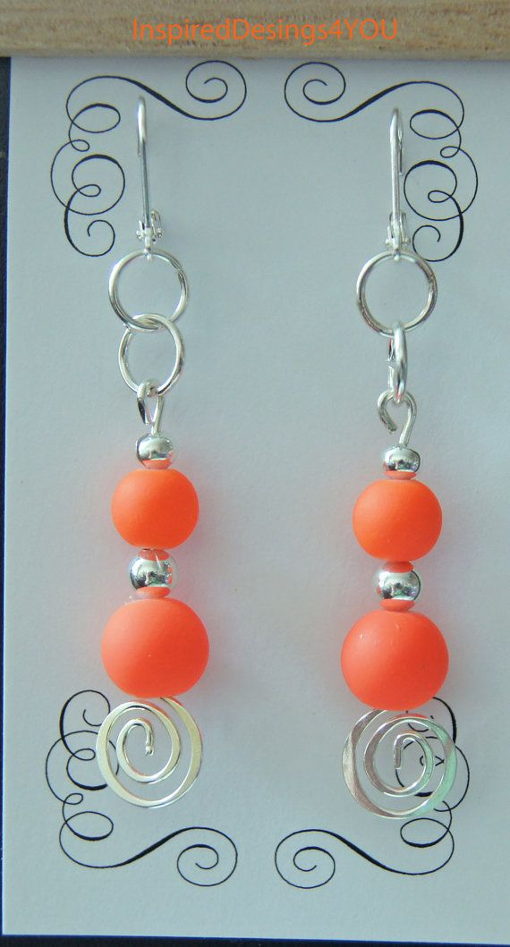 Neon  Orange Sherbert Sterling Silver by InspiredDesigns4YOU, $20.00