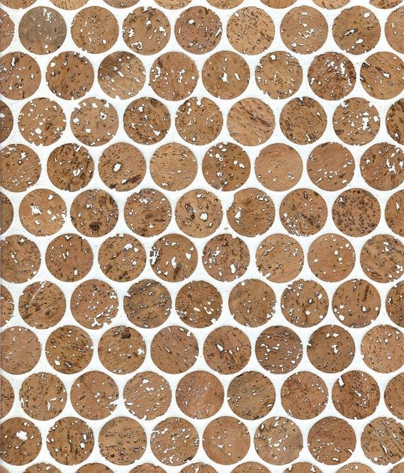1 Cork Mosaic Tile For Floors Walls Bathroom Kitchen Etsy In 2020 Penny Round Tiles Cork Flooring Mosaic Tiles