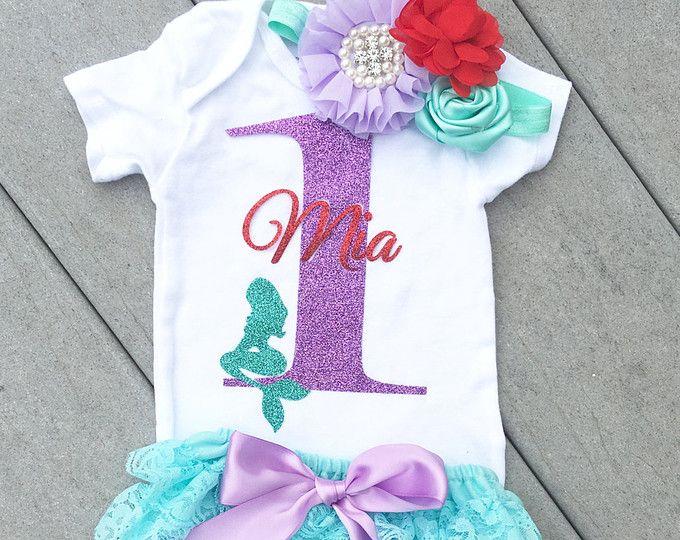 Mermaid Outfit de cumpleaños, fiesta de sirena, sirena cumpleaños, primer cumpleaños, en el cumpleaños de mar