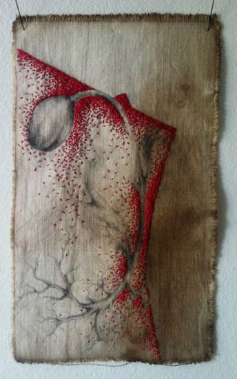 Mixture of thread work and graphite on dyed fabric.  Erin Endicott Contemporary Embroidery