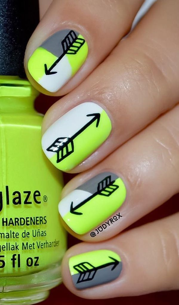 Neon Arrow Nail Art Design. Fan of neon? When it comes to bold colors, neon nails always remain over the top.