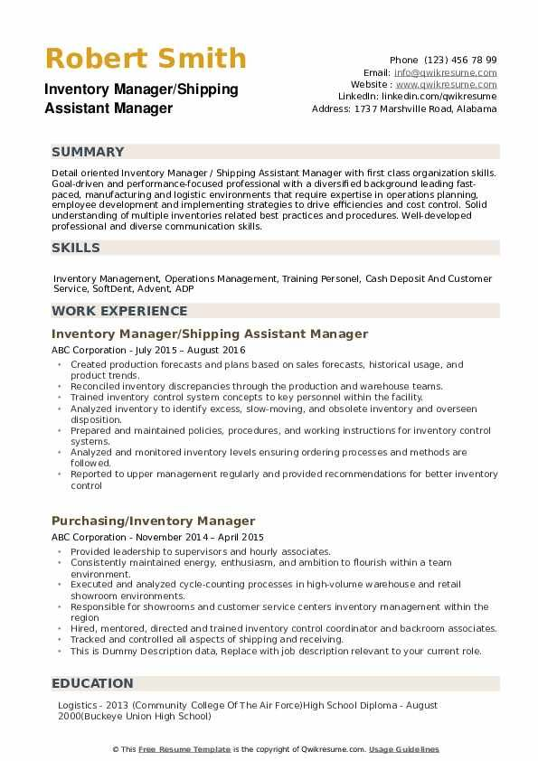 Inventory Manager Resume Samples Qwikresume Image Result For