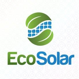 Green Solar Logo Designs with leaves and Solar Pannels design For Sale on Stock Logos | Eco Solar logo