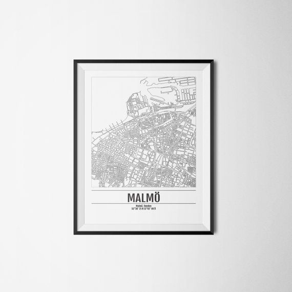 Malmö city map Sweden Malmo Art print A3 by Itchyprints on Etsy