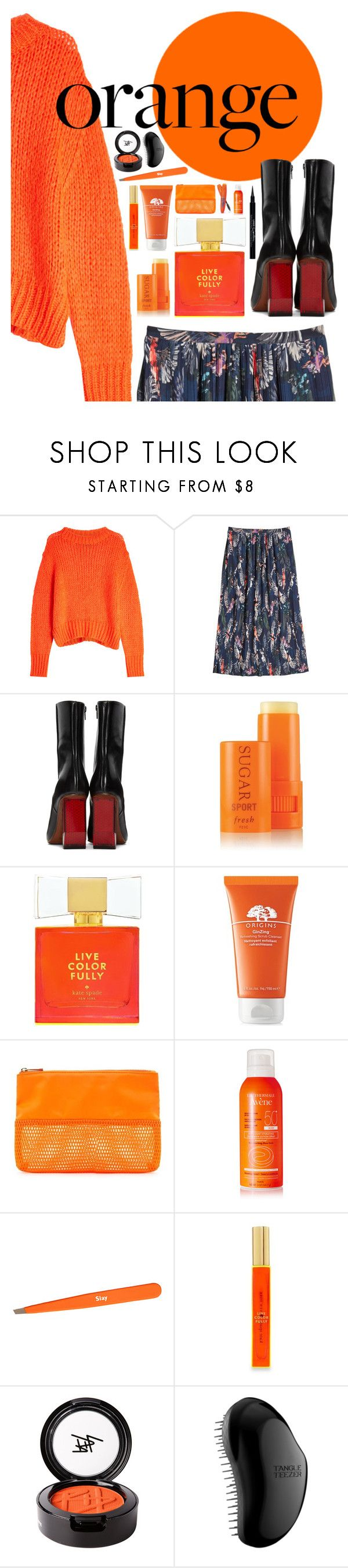 """orange you glad"" by sharmarie ❤ liked on Polyvore featuring Markus Lupfer, Vetements, Fresh, Kate Spade, Origins, Forever 21, Rimmel, Avène, Secret Service Beauty and Beauty Is Life"