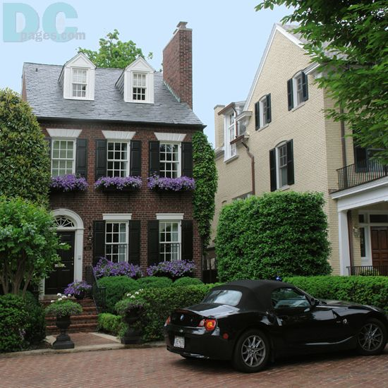 Stunning townhouse with window boxes in Georgetown D.C.