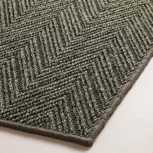World Market Charcoal Jacquard Woven Sisal Area Rug V3
