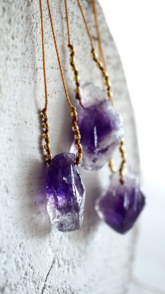 Amethyst nugget necklace, purple stone necklace, mineral necklace, organic jewelry, February birthstone, amethyst gold,  - Pohaku Purple