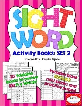 Worksheets Write In Word From 101 To 200 sight word activity books set 2 fry words 101 200 editable classroom