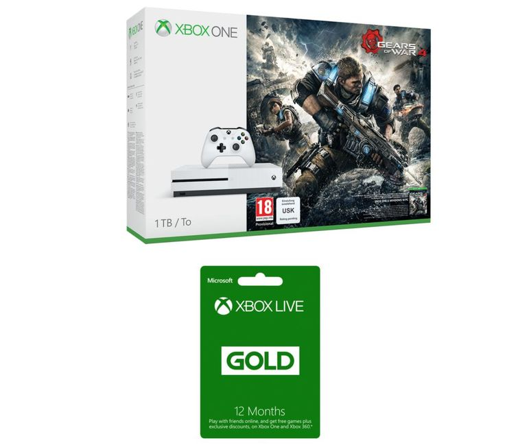 MICROSOFT  Xbox One S with Gears of War 4 & Xbox Live Gold 12 Month Subscription Bundle, Gold Price: £ 324.99 Bring your best to battle with the Microsoft Xbox One S with Gears of War 4 & Xbox Live Gold 12 Month Subscription Bundle . _____________________________________________________________  Microsoft Xbox One S with Gears of War 4 The Xbox One S is an enhanced Xbox console 40% smaller...