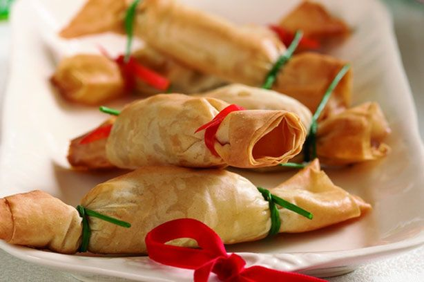 Christmas canape crackers in Filo Pastry: Avocado, Prawn and Lemon - Feta and Lime - Sausage and Cranberry
