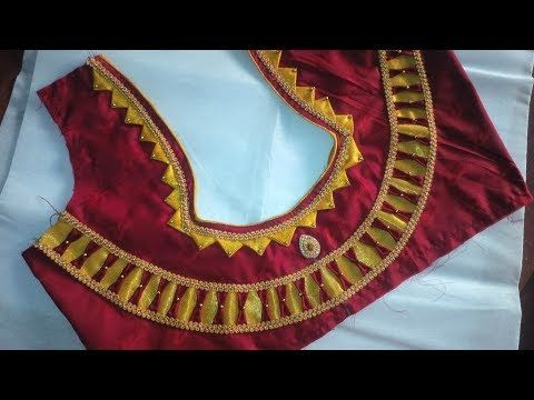 b6018b8b46c Easy Blouse Design Cutting Stitching Stylish Golden Lase Design Blouse  Tailoring Classes in Tamil - YouTube