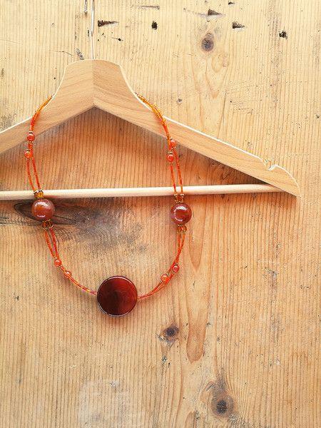 Collane lunghe - Collana boho chic con corniola rossa e arancio - un prodotto unico di Valeria-Draws su DaWanda