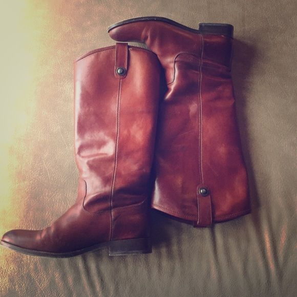 Frye Melissa boots Brown Melissa fry boots in AMAZING shape. The bottom is a little scuffed but the rest of the boot is like new. I recently had the calves stretched so they're wide as well. Frye Shoes Heeled Boots