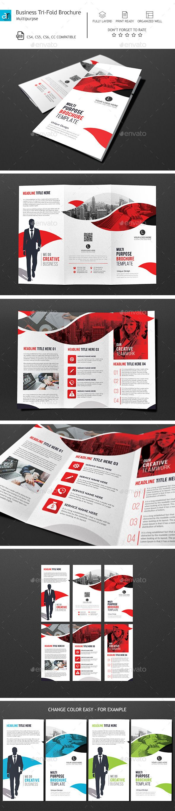 Corporate TriFold Brochure 02 — Photoshop PSD #a4 #trifold brochure • Available here → https://graphicriver.net/item/corporate-trifold-brochure-02/14729151?ref=pxcr