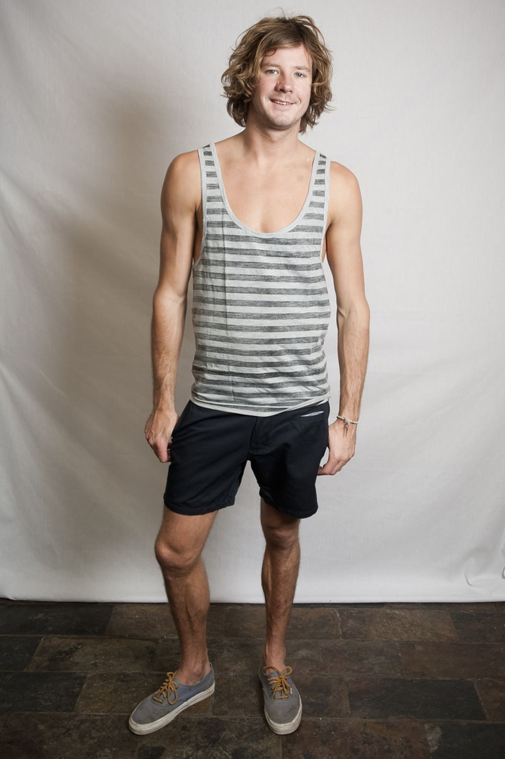 $19.95 - Low Cut Tank Grey Marle Stripe  www.vagueclothing.com