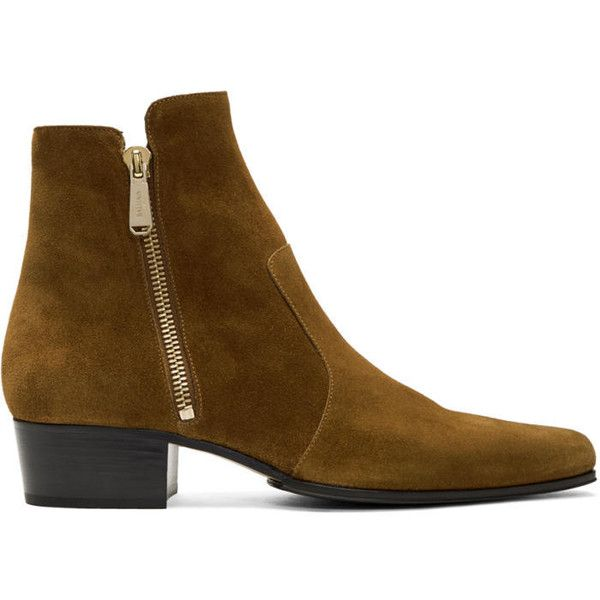 Balmain Brown Suede Anthos Boots ($930) ❤ liked on Polyvore featuring men's fashion, men's shoes, men's boots, brown, mens zipper boots, mens suede boots, balmain mens boots, mens suede shoes and mens square toe shoes