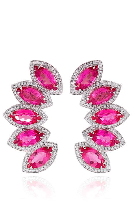 Tourmaline And Diamonds Earrings In White Gold by Dana Rebecca for Preorder on Moda Operandi