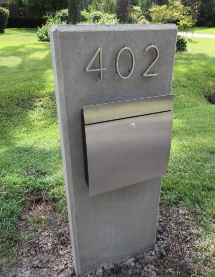 Accessories: Elegant Mid Century Modern Mailbox Combined Cement And Stainless Steel At Modern Exterior Ideas, Gravel Flooring, Midcentury Modern Mailbox ~ JSDPN