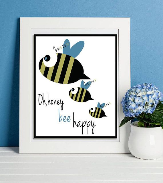 Be happy quote, Kids poster, Bee happy, Nursery wall art, Blue posters, Baby boy gift, Newborn room decoration, Cute animal printable, Bees.   This listing is for an INSTANT DOWNLOAD of 2 PDF files of this artwork. Just purchase the listing and your print is ready to download instantly. Why not print one for a friend, or just for fun?  Once you purchase the poster you will receive the following files:  - 1 PDF high resolution (300 dpi) file with trim marks 8x10 inches. - 1 PDF high…