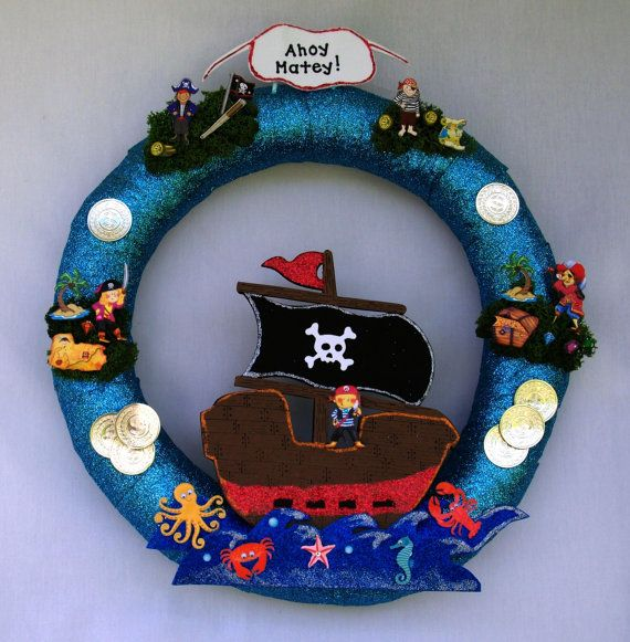 Pirate Wreath by PetalsandBowsbyDebbe on Etsy, $33.00